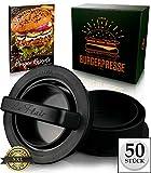 Le Flair XXL Burgerpresse-Set 4 in 1 -NEUES Modell 2019- mit E-Book | Burger Pattie Presse für Hamburger ideales Grillzubehör BBQ mit Backpapier Patty Maker Burger zum Grillen | Deutsche Marke