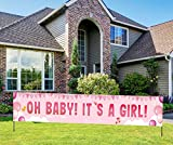 It's a Girl Banner for Baby Shower, It's a Girl Yard Sign, Pink Baby Shower Decorations for Girl Indoor & Outdoor (9.8 * 1.6 Feet)