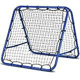 COSTWAY Football Training Net, Double Sided Football Rebounder, Adjustable Soccer Target Goal