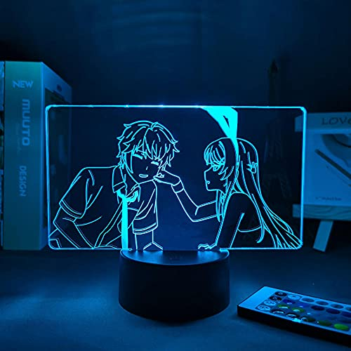 3D Illusion Lamp Mood Led Night Light Anime Waifu Mai Sakurajima for Room Decor May for Friends Lad Anime Rabbit Girl-Orange_with Remote