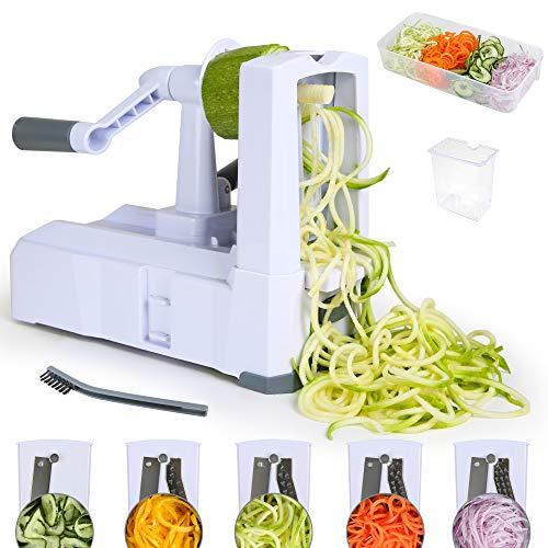 Edaygo Spiralschneider Gemüse Schneider Zerkleinerer Gemüsehobel Gemüsespaghetti Zwiebelschneider Kurbelbetrieb, 5-teilig