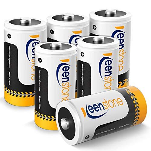 Keenstone C Size 6PCS Wiederaufladbare NI-MH-Batterien 1,2 V 5000 mAh 1200 Zyklen Ultra Power und hohe Leistung, sofort einsatzbereit, Rechargeable Akku, mit Aufbewahrungsboxen(6 Stück) (6pcs)
