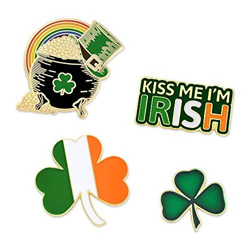 PinMart's St. Patrick's Day Shamrock Pot of Gold Irish Flag Enamel Lapel Pin Set