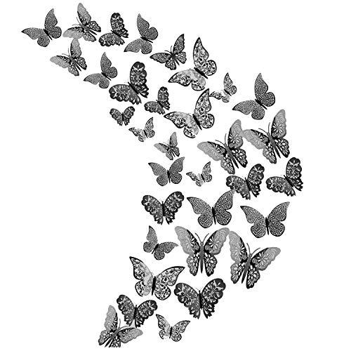 36 adesivi 3D a farfalla in metallo cavo, adesivi per la decorazione della stanza di neonati / ragazze, adesivi murali fai-da-te, adesivi murali rimovibili per feste di matrimonio (grigio scuro)