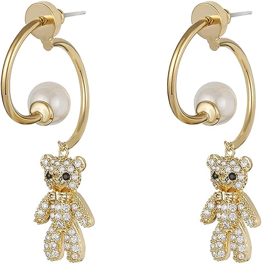 YAZILIND Cute Bear Shape Pendant Drop Dangle Earrings Imitation Pearl Personality Earring Ladies Girls Ear Jewelry