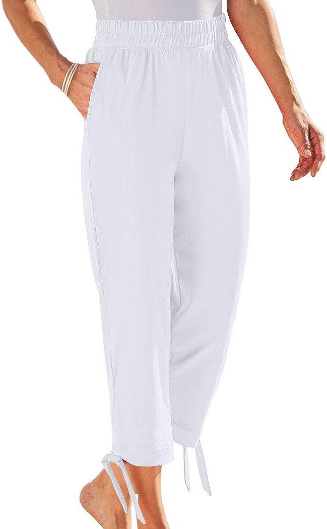 AmeriMark Women's Side-Tie Pants – 100% Cotton Capris with Stretch Elastic Waist
