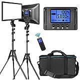 Dazzne 2 Pack Bicolor Luz de Vídeo y Kit de Foco Estudio de Soporte 15,4'' Panel Grande 3000K-8000K 45W Regulable 1-100% para Videojuego de YouTube Video en Vivo Fotografía Iluminación