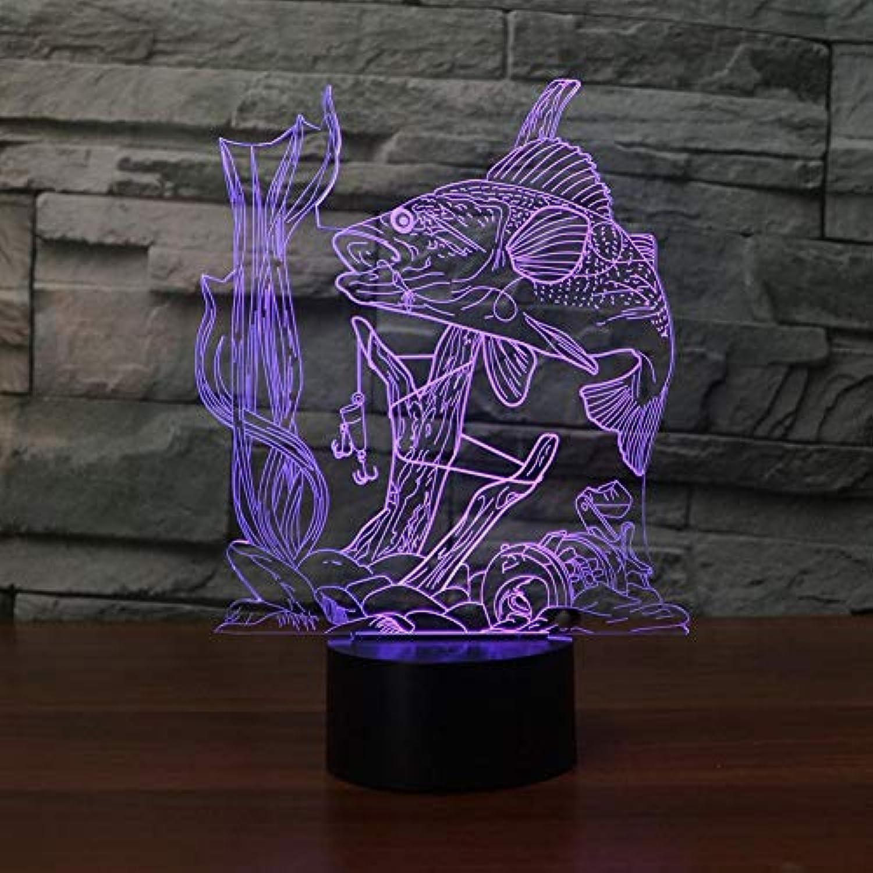 Laofan 7 Farbwechsel 3D USB Visuelle Fisch Tischlampe Led Nacht Angeln Nachtlicht Leuchte Geschenk Dekore,Berührungsschalter
