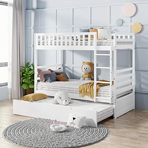 Merax Bunk Bed Twin Over Twin for Kids Twin Bed with Trundle, Safety Ladder and Guardrail, Solid Wood Bed Frame (Pure White)