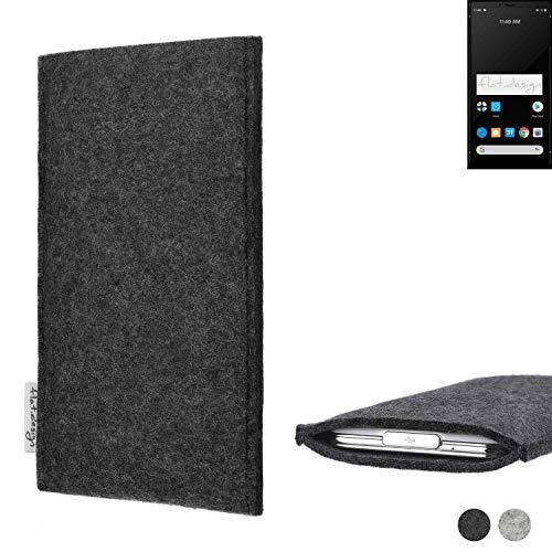 flat.design Handy Hülle Porto für Carbon 1 MKII handgefertigte Handytasche Filz Tasche Schutz Hülle fair dunkelgrau