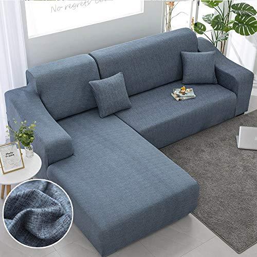WXQY Chaise Longue Cubierta del sofá de la Sala de Estar Cubierta elástica para el Cabello, Todo Incluido a Prueba de Polvo ángulo telescópico en Forma de L sofá A4 4 plazas