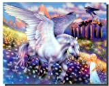 Wall Decor Mythical Pegasus & Girl Fantasy Art Print Picture (16x20)