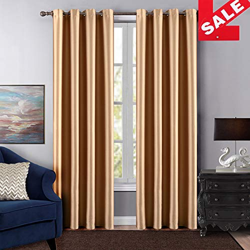 Dreaming Casa Grommet Top Solid Room Darkening Blackout Curtain for Bedroom Metal Textured Window Treatment 96 Inches Long Draperies Beige 1 Panel 42quot W x 96quot L