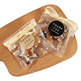 Angelikashalalala, 200 sacchetti per biscotti, 10 x 10 cm, 150 etichette di ringraziamento, 50 pezzi di nastro autoadesivo in plastica per caramelle, cioccolato, panifici, frutta secca