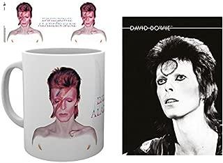 Set: David Bowie, Aladdin Sane Photo Coffee Mug (4x3 inches) and 1 David Bowie, Postcard (6x4 inches)