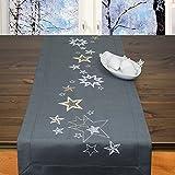 Kit de punto de cruz, diseño de estrellas, camino de mesa, juego de punto de cruz con punto plano y punto de tallo, para bordar uno mismo en Adviento y Navidad
