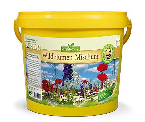 Wildblumensamen | 5 Liter Eimer | 500-1000m² | Blumensamen für Blumenwiese