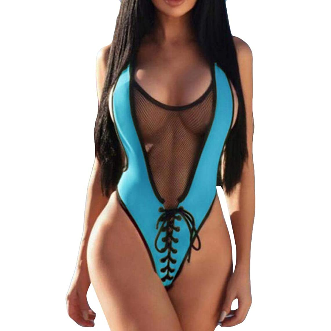 Iuhan  One-Pieces Lace-up Monokinis Bathing Suit for Women, See-Through Women Jumpsuit Push-Up Padded Bra Sport Beach Bikini Sexy Swimwear