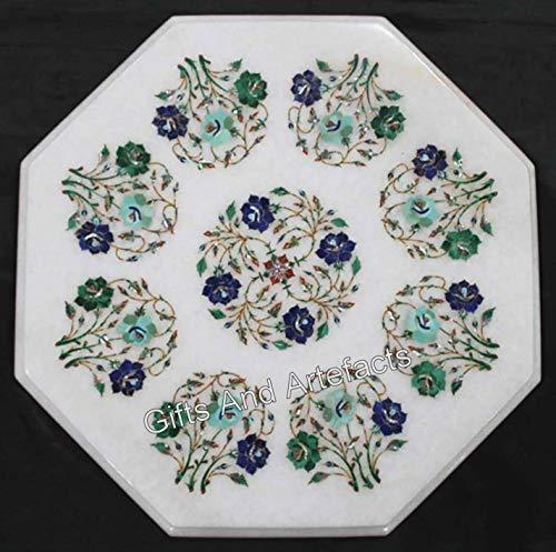 Gifts And Artefacts Table d'appoint octogonale en marbre Blanc avec Pierres Semi-précieuses Art Floral pour Ajouter Un Look Royal à Votre Salon, 38,1 cm