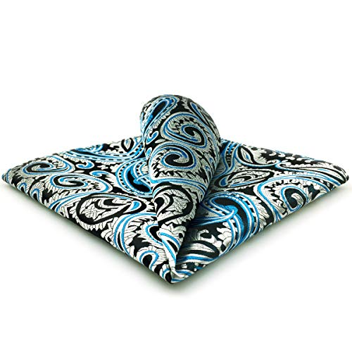 SHLAX&WING Silver Blue Black Silk Matching Pocket Square 12.6 inches Large