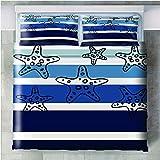 Juego de cama de 3 piezas Estrella de mar de gradiente de onda de mar - 180x210cm(71x83 inch) Funda Edredón con cremallera de cama de microfibra suave y transpirable funda con 2 fundas de almohada