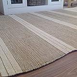 Alfombra de rayas fabricada con algodón natural y yute, 90x150cm, color beige claro.