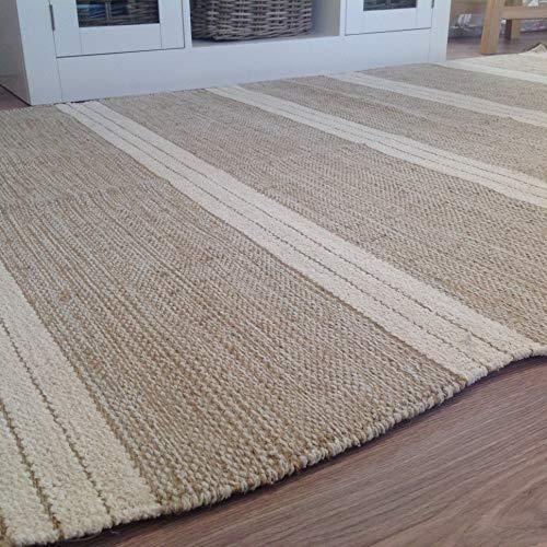 Tappeto in cotone naturale e iuta, con triple strisce, beige e bianco, 90 x 150cm