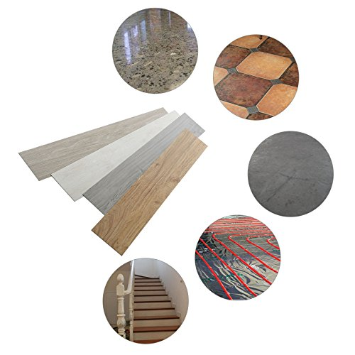 16 PCS 24 Square Feet, CO-Z Odorless Vinyl Floor Planks Adhesive Floor Tiles 2.0mm Thick, Environmental-Friendly (Grey)