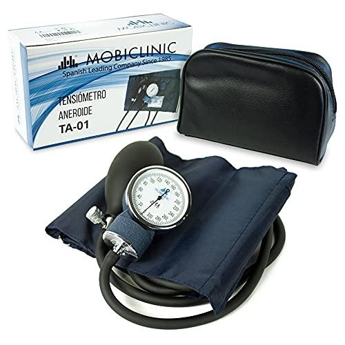 Mobiclinic, Sfigmomanometro per braccio Aneroide, Misurazione della pressione sanguigna, Marchio Europeo, Precisione, Pompa di gomma, Leggero, Facile da usare, Blu