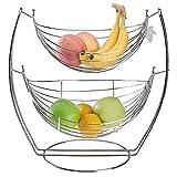 GAOZ Canasta de Frutas de 2 Niveles, Cuencos de Frutas de Gran Capacidad, Cromo, Columpio, Cuenco de Frutas y Verduras