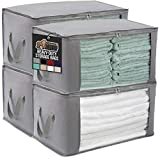 Gorilla Grip Fabric Clothing Storage Bags, 22x13 Large Capacity Bag, Water Resistant, Reinforced Handles, Zipper Top Clear Window, Under Bed Foldable Organizer, Store Clothes, Bedding, 4 Pack, Gray