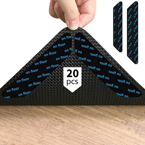 KATELUO Teppichgreifer Antirutschmatte,20 Stück Antirutschmatte für Teppich,Doppelseitig teppichgreifer antirutsch, 180mm*30mm, Kann gewaschen und wiederverwendet Werden Antirutschmatte. (Schwarz)