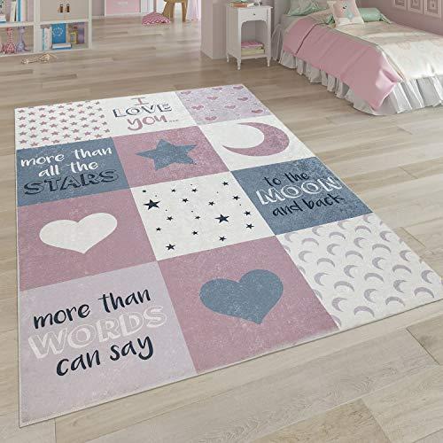 Paco Home Kinderteppich, Waschbarer Kinderzimmer Teppich m. Stern, Mond u. Karo Motiven, Grösse:80x150 cm, Farbe:Pink