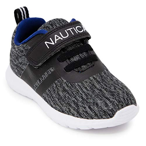 Nautica Kids Boys Girls Fashion Sneaker Athletic Running Shoe with Stap for Toddler and Little Kids-Towhee-Storm/Black Mesh-12