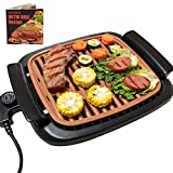 Korea Grill Indoor Removable - Electric Smokeless BBQ Griddle with Recipes, Adjustable Thermostat, 16' x 11' Large Nonstick Cooking Surfaces with Oil Drip Tray, Copper Tabletop Grills