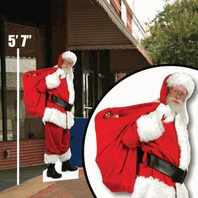VictoryStore Yard Sign Outdoor Lawn Decorations: Life Size Santa Claus Decorations Lawn Display, 5 Foot 7 Inches Tall, Includes 4 EZ Wires