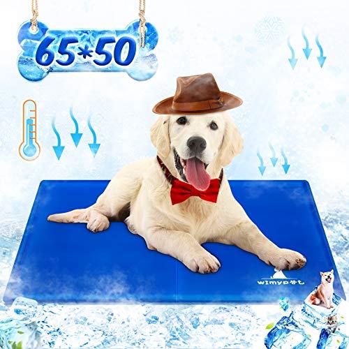 Wimypet Haustier Kühlmatte, Kühlmatte Selbstkühlend Für Hunde und Katzen Kaltgelpad, Ungiftig und Dauerhaft,Wasserdicht Sicher, Sommer-Essentials(65X50cm)