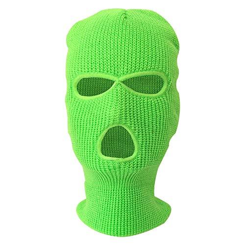 B/H máscara de Invierno para Cara Completa,Pasamontañas de Invierno cálido, Capucha de Montar de Punto-Verde Fluorescente_Talla única,Unisex multifuncion Mascara