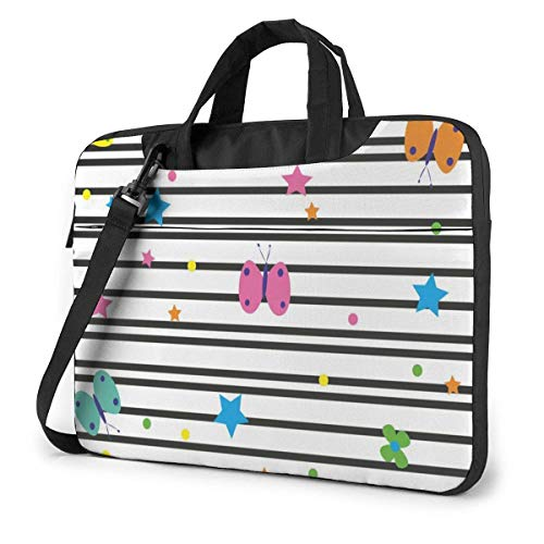 Lines Colorful Butterflies Stars Stripe Pattern Laptop Case Sleeve Briefcase Computer Shoulder Bag W/Strap