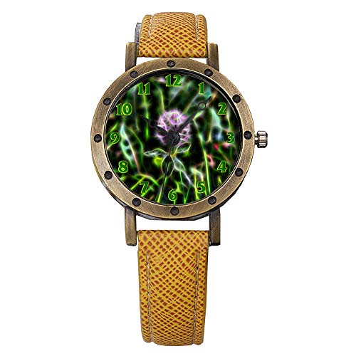 GIRLSIGHT Brand Retro Bronze Vintage Leather Strap Watches Ladies Girl Quartz Watch Abstract Flowers 115.Clover, Red Clover, Herb, Forage Plant