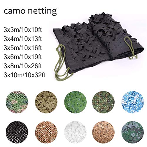 4 * 4m/13 * 13ft Woodland Camouflage Camo Army Net Black Hide Netting Camping Military Hunting Shelter (Color : -, Size : 2x3m/6x10ft)