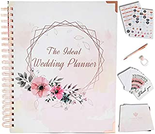 Wedding Planner Book and Organizer For The Bride - Rose Gold Kit - Engagement Gift for Couples - Bride To Be Gifts for Her - Future Mrs Wedding Planning Book with Hard Cover, Pockets & Online Support
