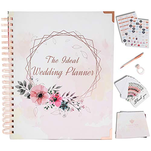 Wedding Planner Book and Organizer For The Bride Rose Gold - Engagement Gift with Accessories - Undated Binder with Hard Cover, Pockets & Online Support