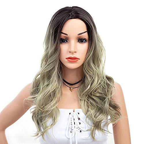 Européenne et américaine de la mode dégradé de couleur perruque grande vague de Modified visage longs cheveux bouclés Easy Care (66 cm) Perruques Femme XXYHYQHJD