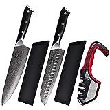 Biffidì Set coltelli cucina professionali Damasco in acciaio Giapponese da 67 strati di altissima qualità con Coltello da Chef, Coltello Santoku, affilacoltelli e elegante scatola regalo