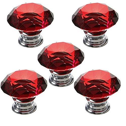 5 PCS 40mm Rot Kristallglas Diamant Form Türknauf /MöbelKnopf /Möbelgriffe für Küche Schränke, Kleiderschrank, Kommode, Schublade,Schranktür Schlafzimmer und Badezimmer KinderZimmer Dekor etc.