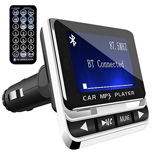 Leoie Transmisor FM Bluetooth para automóvil con Cargador USB y Control Remoto con Llamada Manos Libres