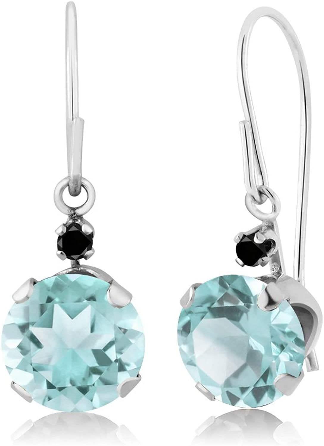 2.42 Ct Round Sky bluee Topaz Black Diamond 14K White gold Earrings