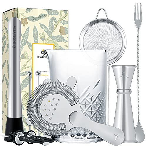 Cocktail Mixing Glass Barware Tool Set includes 24oz Thick Crystal Cocktail Mixer, Hawthorne Strainer, Small Strainer, Double Jigger, Barspoon, Muddler, 2 Pourers, 2 Skewers Gift Set by Homestia