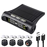 Tire Pressure Monitoring Systems TPMS 6 Alarm Modes Wireless Solar Power and USB Charge with 4 External Sensors Real Time Pressure and Temperature Alarm Auto Safety Monitor for Rv Trailer Car Truck